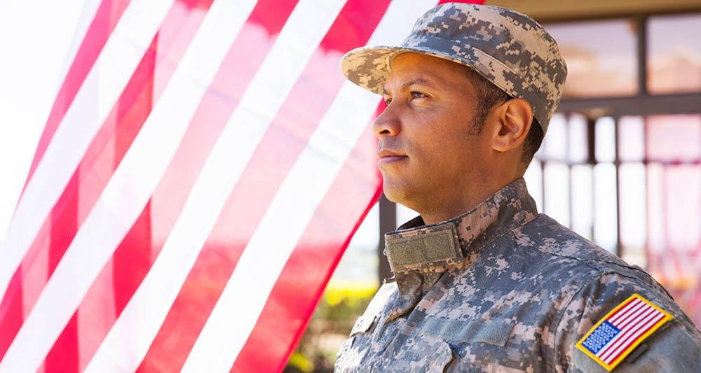 American military veteran looking away